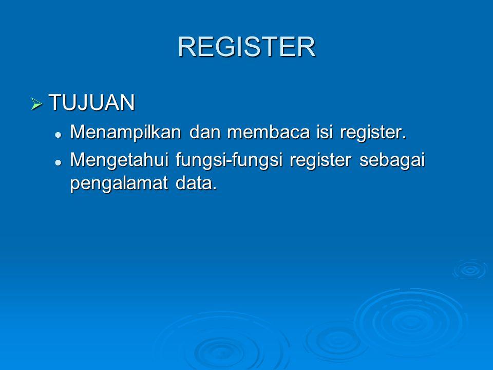 REGISTER  TUJUAN Menampilkan dan membaca isi register. Menampilkan dan membaca isi register. Mengetahui fungsi-fungsi register sebagai pengalamat dat