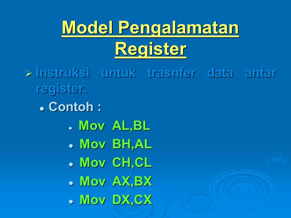 Model Pengalamatan Register  Instruksi untuk trasnfer data antar register. Contoh : Contoh : MovAL,BL MovAL,BL MovBH,AL MovBH,AL MovCH,CL MovCH,CL Mo