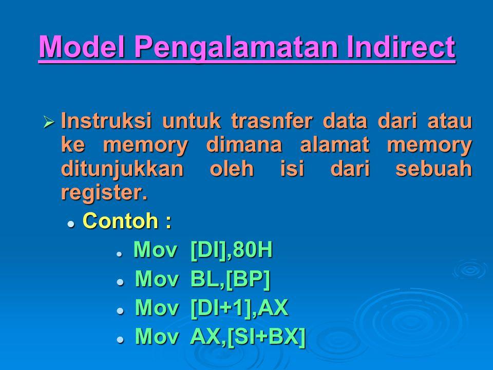 Model Pengalamatan Indirect  Instruksi untuk trasnfer data dari atau ke memory dimana alamat memory ditunjukkan oleh isi dari sebuah register. Contoh