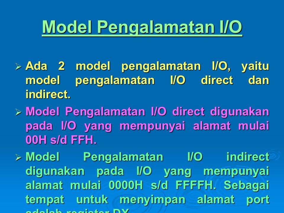 Model Pengalamatan I/O  Ada 2 model pengalamatan I/O, yaitu model pengalamatan I/O direct dan indirect.  Model Pengalamatan I/O direct digunakan pad