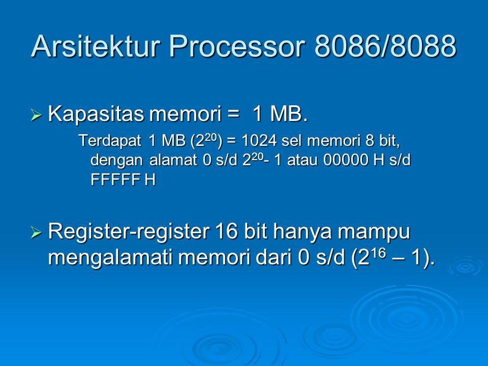 Arsitektur Processor 8086/8088  Kapasitas memori = 1 MB. Terdapat 1 MB (2 20 ) = 1024 sel memori 8 bit, dengan alamat 0 s/d 2 20 - 1 atau 00000 H s/d