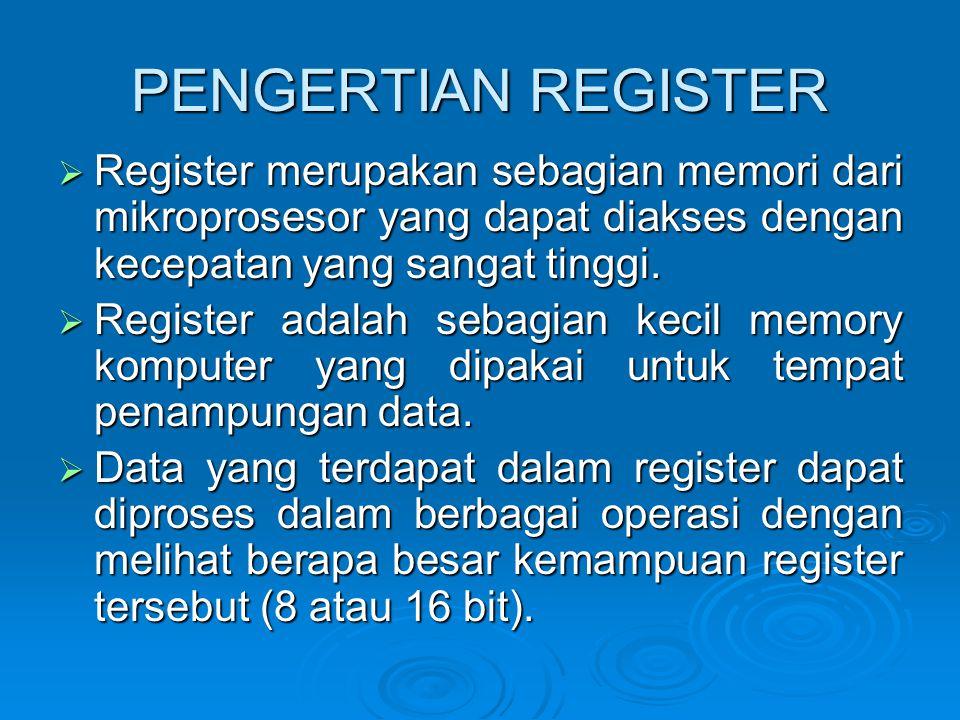 PENGERTIAN REGISTER  Register merupakan sebagian memori dari mikroprosesor yang dapat diakses dengan kecepatan yang sangat tinggi.  Register adalah