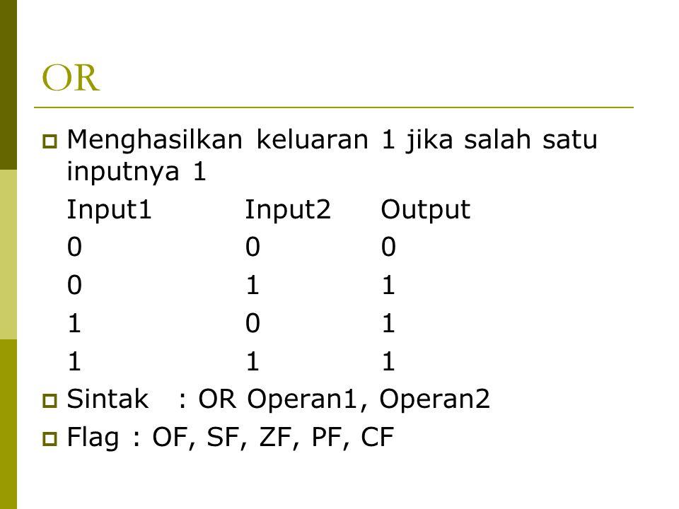 OR  Menghasilkan keluaran 1 jika salah satu inputnya 1 Input1Input2Output 000 011 101 111  Sintak: OR Operan1, Operan2  Flag : OF, SF, ZF, PF, CF