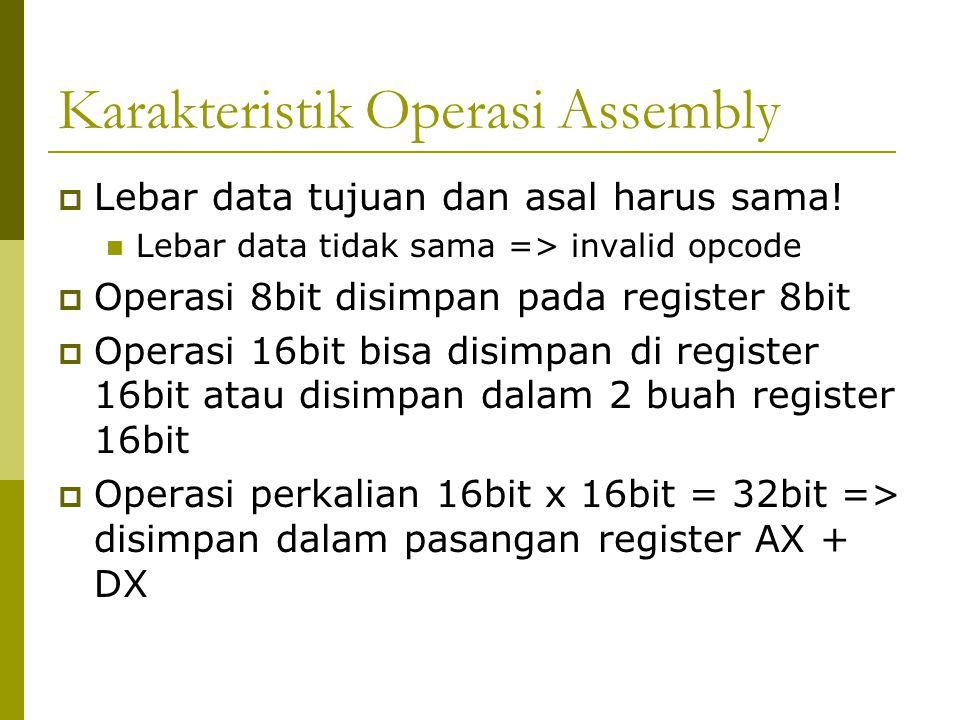 Karakteristik Operasi Assembly  Lebar data tujuan dan asal harus sama! Lebar data tidak sama => invalid opcode  Operasi 8bit disimpan pada register