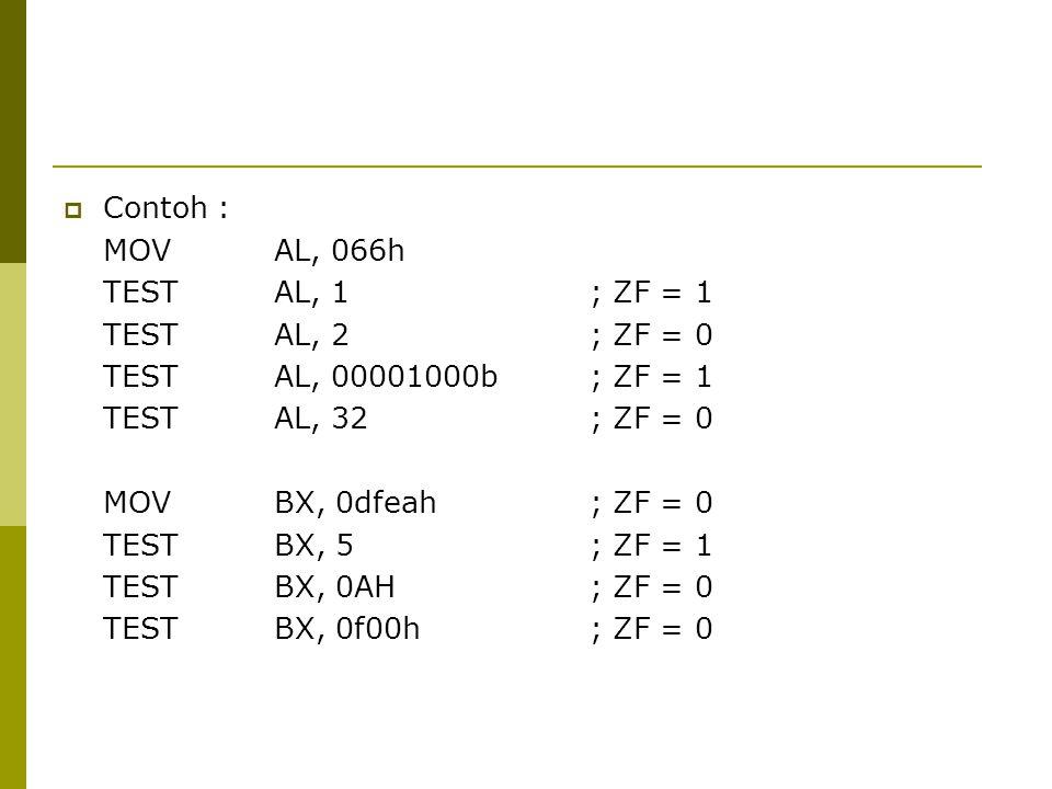  Contoh : MOVAL, 066h TESTAL, 1; ZF = 1 TESTAL, 2; ZF = 0 TESTAL, 00001000b; ZF = 1 TESTAL, 32; ZF = 0 MOV BX, 0dfeah; ZF = 0 TEST BX, 5; ZF = 1 TEST