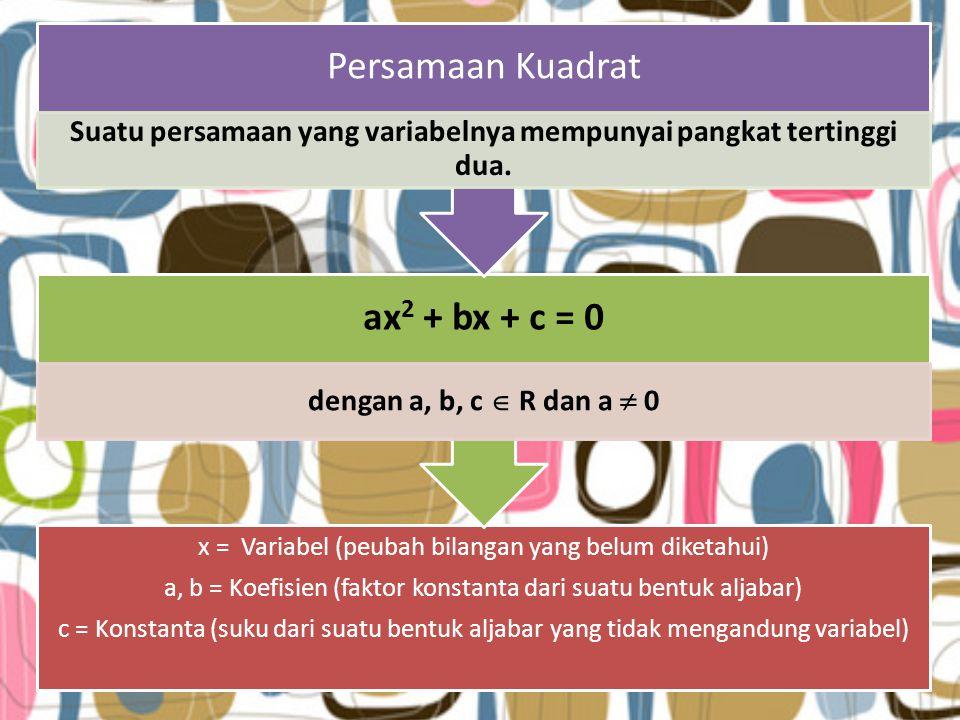 x = Variabel (peubah bilangan yang belum diketahui) a, b = Koefisien (faktor konstanta dari suatu bentuk aljabar) c = Konstanta (suku dari suatu bentuk aljabar yang tidak mengandung variabel) ax 2 + bx + c = 0 dengan a, b, c  R dan a  0 Persamaan Kuadrat Suatu persamaan yang variabelnya mempunyai pangkat tertinggi dua.