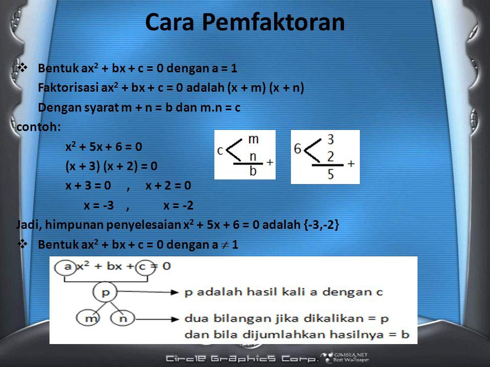 Cara Pemfaktoran  Bentuk ax 2 + bx + c = 0 dengan a = 1 Faktorisasi ax 2 + bx + c = 0 adalah (x + m) (x + n) Dengan syarat m + n = b dan m.n = c contoh: x 2 + 5x + 6 = 0 (x + 3) (x + 2) = 0 x + 3 = 0, x + 2 = 0 x = -3, x = -2 Jadi, himpunan penyelesaian x 2 + 5x + 6 = 0 adalah {-3,-2}  Bentuk ax 2 + bx + c = 0 dengan a  1