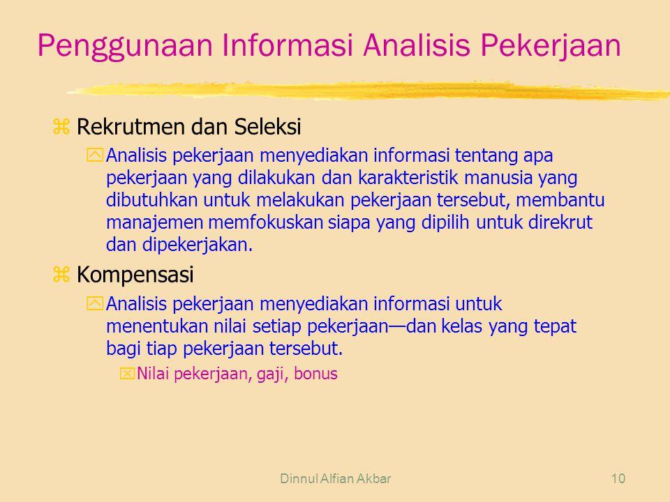 Dinnul Alfian Akbar10 Penggunaan Informasi Analisis Pekerjaan zRekrutmen dan Seleksi yAnalisis pekerjaan menyediakan informasi tentang apa pekerjaan y