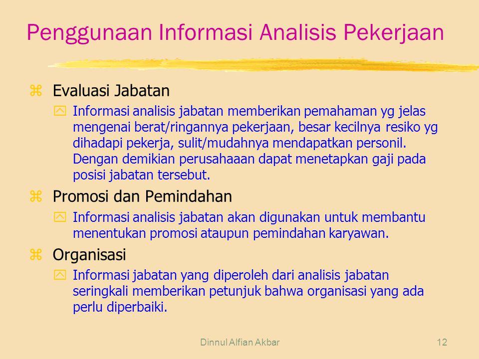Dinnul Alfian Akbar12 Penggunaan Informasi Analisis Pekerjaan zEvaluasi Jabatan yInformasi analisis jabatan memberikan pemahaman yg jelas mengenai ber