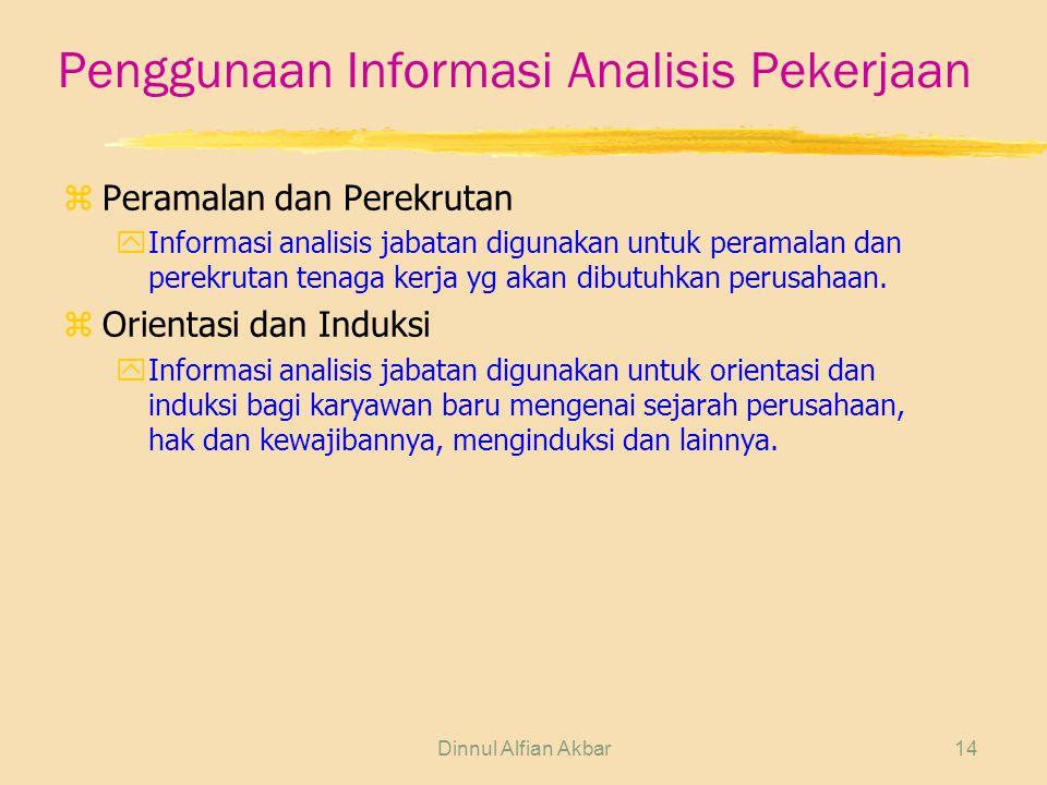 Dinnul Alfian Akbar14 Penggunaan Informasi Analisis Pekerjaan zPeramalan dan Perekrutan yInformasi analisis jabatan digunakan untuk peramalan dan pere