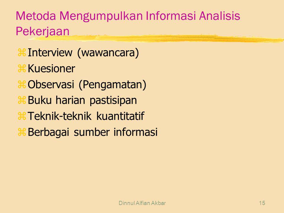 Dinnul Alfian Akbar15 Metoda Mengumpulkan Informasi Analisis Pekerjaan zInterview (wawancara) zKuesioner zObservasi (Pengamatan) zBuku harian pastisip