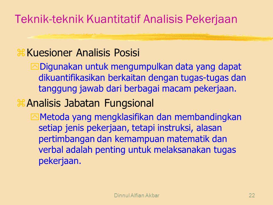 Dinnul Alfian Akbar22 Teknik-teknik Kuantitatif Analisis Pekerjaan zKuesioner Analisis Posisi yDigunakan untuk mengumpulkan data yang dapat dikuantifi