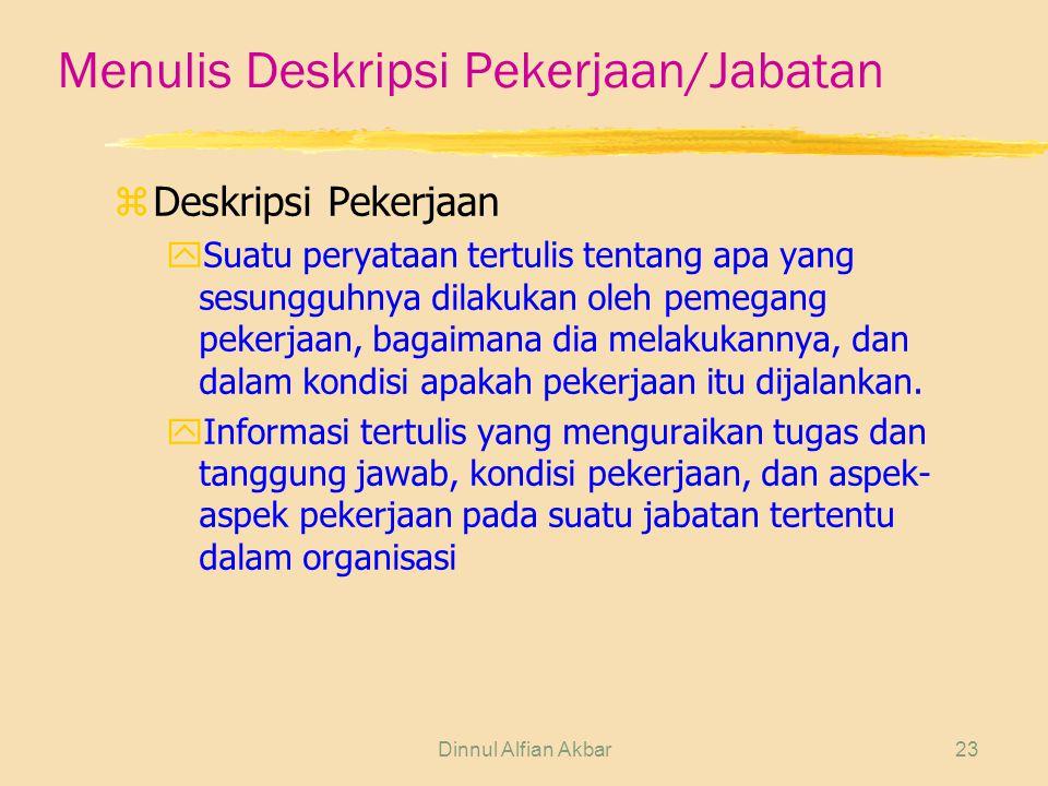 Dinnul Alfian Akbar23 Menulis Deskripsi Pekerjaan/Jabatan zDeskripsi Pekerjaan ySuatu peryataan tertulis tentang apa yang sesungguhnya dilakukan oleh