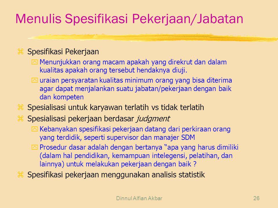Dinnul Alfian Akbar26 Menulis Spesifikasi Pekerjaan/Jabatan z Spesifikasi Pekerjaan yMenunjukkan orang macam apakah yang direkrut dan dalam kualitas a