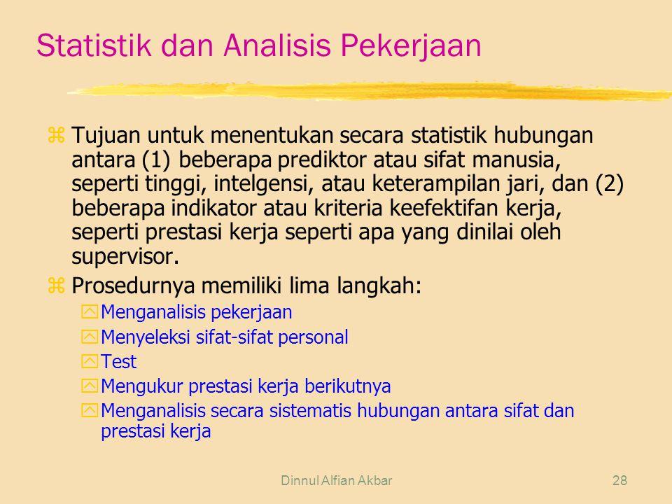 Dinnul Alfian Akbar28 Statistik dan Analisis Pekerjaan z Tujuan untuk menentukan secara statistik hubungan antara (1) beberapa prediktor atau sifat ma