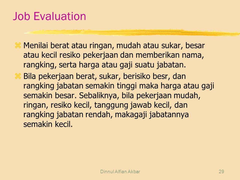 Dinnul Alfian Akbar29 Job Evaluation zMenilai berat atau ringan, mudah atau sukar, besar atau kecil resiko pekerjaan dan memberikan nama, rangking, se