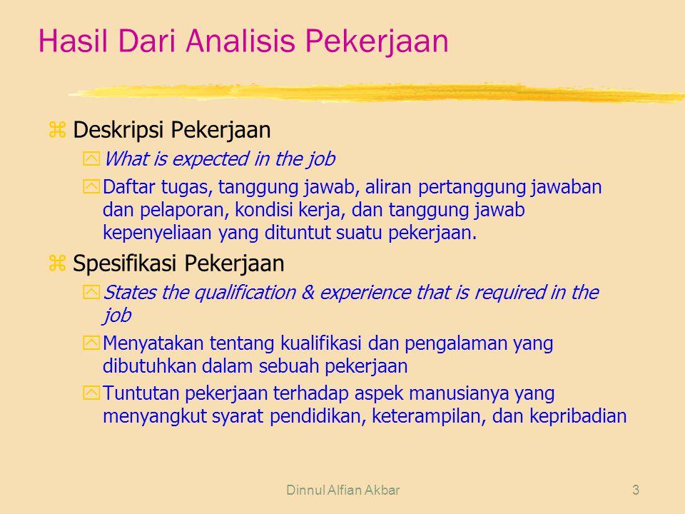 Dinnul Alfian Akbar3 Hasil Dari Analisis Pekerjaan z Deskripsi Pekerjaan yWhat is expected in the job yDaftar tugas, tanggung jawab, aliran pertanggun