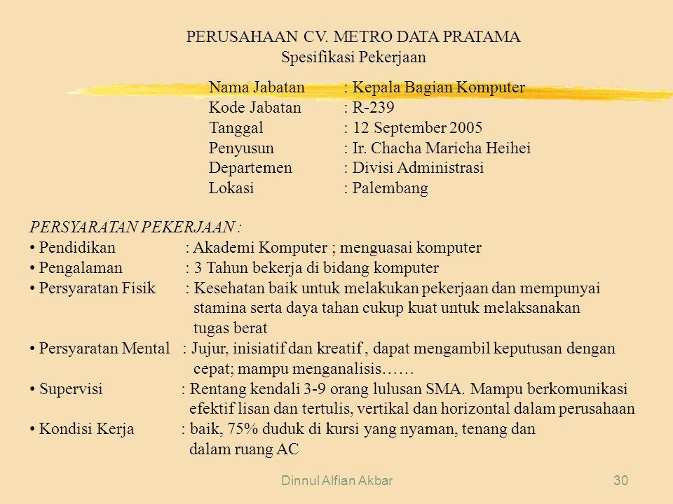 Dinnul Alfian Akbar30 PERUSAHAAN CV. METRO DATA PRATAMA Spesifikasi Pekerjaan Nama Jabatan: Kepala Bagian Komputer Kode Jabatan: R-239 Tanggal: 12 Sep