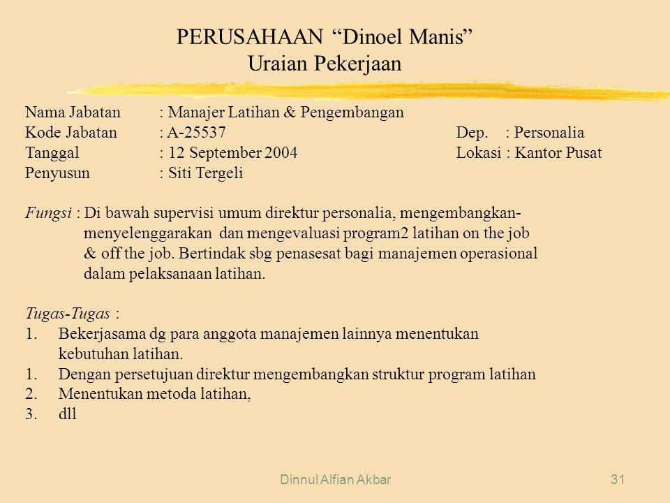 "Dinnul Alfian Akbar31 PERUSAHAAN ""Dinoel Manis"" Uraian Pekerjaan Nama Jabatan: Manajer Latihan & Pengembangan Kode Jabatan: A-25537 Dep. : Personalia"