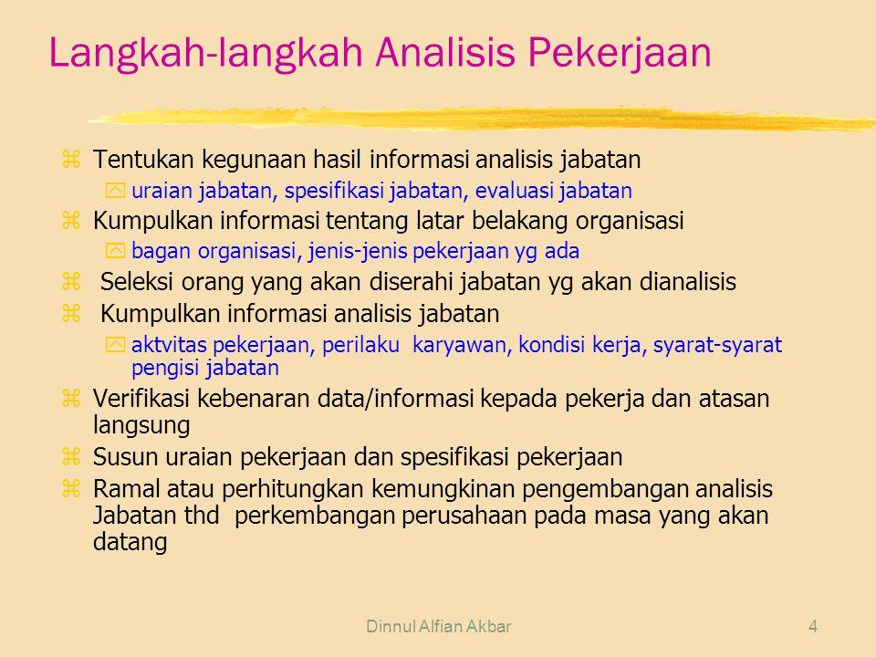 Dinnul Alfian Akbar4 Langkah-langkah Analisis Pekerjaan z Tentukan kegunaan hasil informasi analisis jabatan yuraian jabatan, spesifikasi jabatan, eva