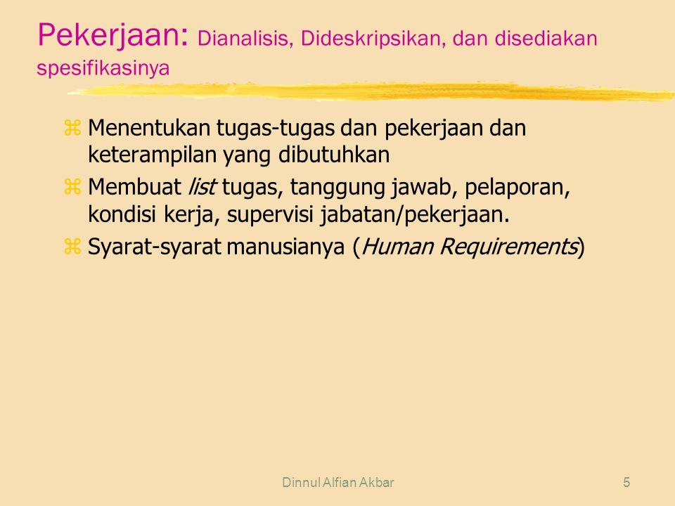 Dinnul Alfian Akbar5 Pekerjaan: Dianalisis, Dideskripsikan, dan disediakan spesifikasinya z Menentukan tugas-tugas dan pekerjaan dan keterampilan yang