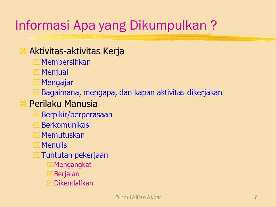 Dinnul Alfian Akbar6 Informasi Apa yang Dikumpulkan ? z Aktivitas-aktivitas Kerja yMembersihkan yMenjual yMengajar yBagaimana, mengapa, dan kapan akti