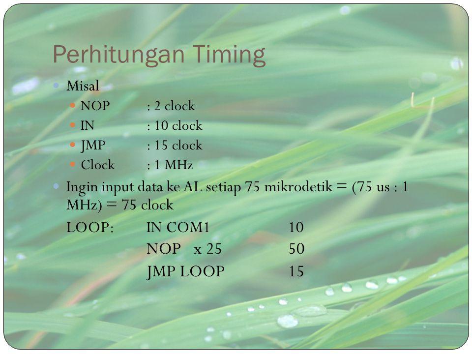 Perhitungan Timing Misal NOP : 2 clock IN: 10 clock JMP: 15 clock Clock : 1 MHz Ingin input data ke AL setiap 75 mikrodetik = (75 us : 1 MHz) = 75 clo