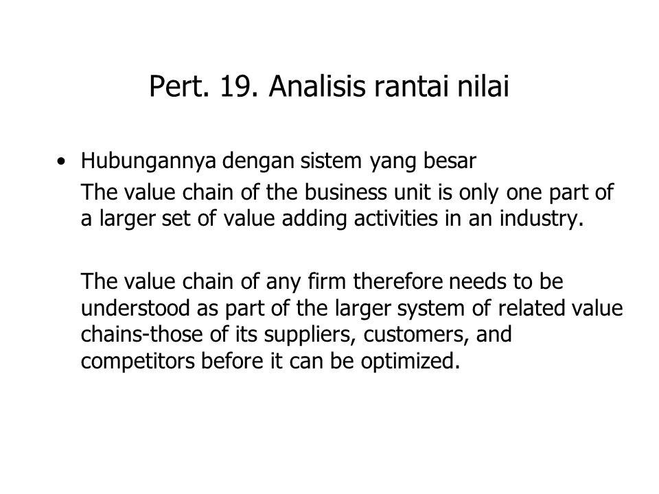 Pert. 19. Analisis rantai nilai Hubungannya dengan sistem yang besar The value chain of the business unit is only one part of a larger set of value ad