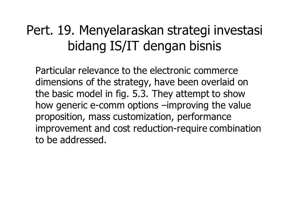 Pert. 19. Menyelaraskan strategi investasi bidang IS/IT dengan bisnis Particular relevance to the electronic commerce dimensions of the strategy, have