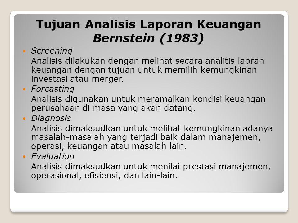 Tujuan Analisis Laporan Keuangan Bernstein (1983) Screening Analisis dilakukan dengan melihat secara analitis lapran keuangan dengan tujuan untuk memilih kemungkinan investasi atau merger.