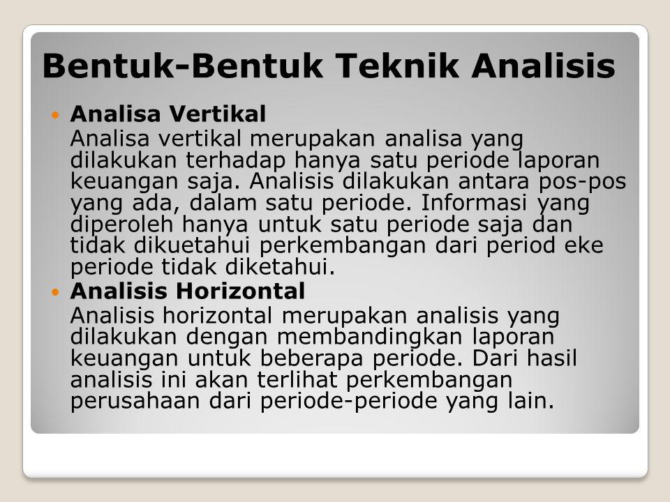Bentuk-Bentuk Teknik Analisis Analisa Vertikal Analisa vertikal merupakan analisa yang dilakukan terhadap hanya satu periode laporan keuangan saja.