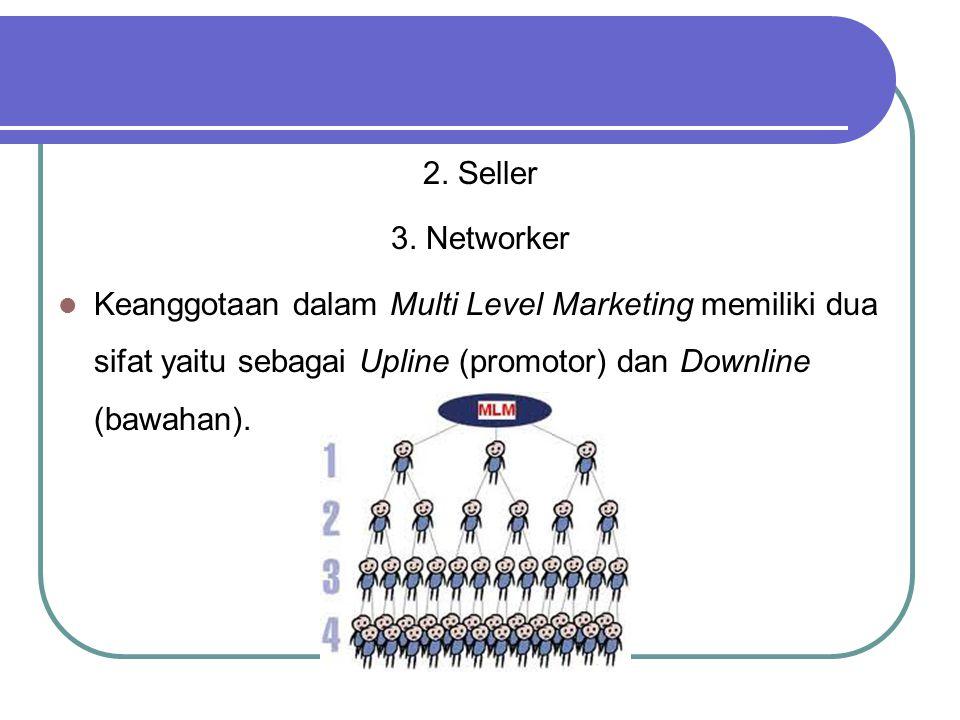 2. Seller 3. Networker Keanggotaan dalam Multi Level Marketing memiliki dua sifat yaitu sebagai Upline (promotor) dan Downline (bawahan).