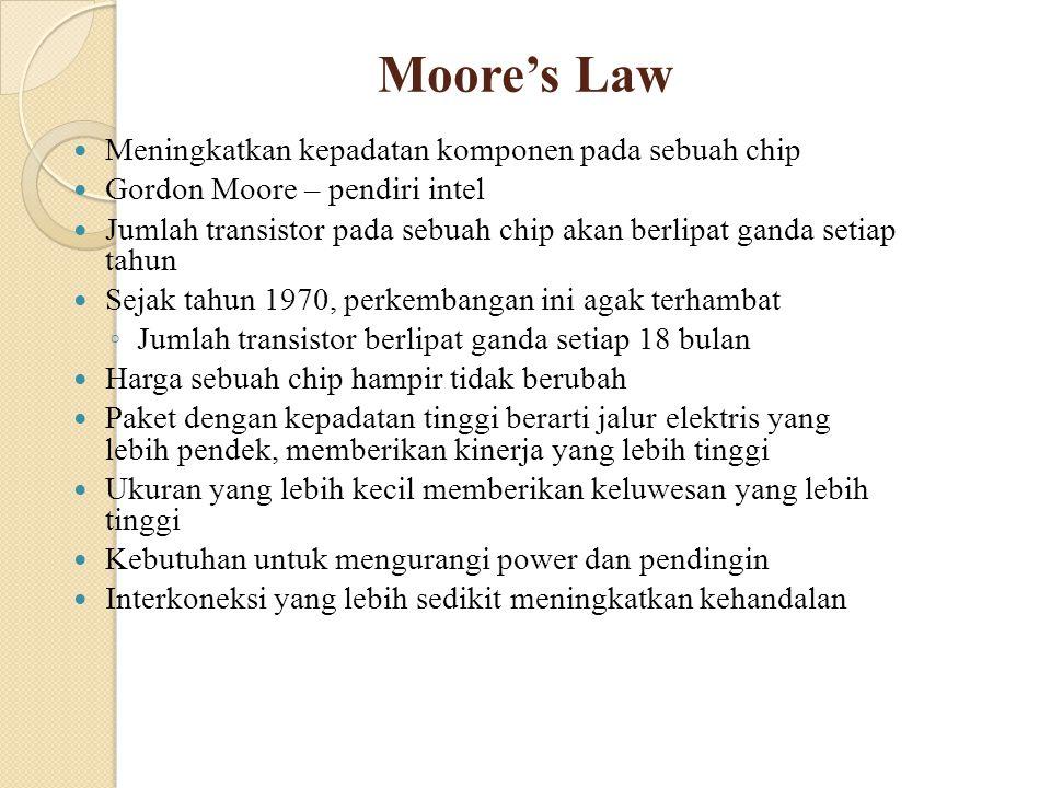 Moore's Law Meningkatkan kepadatan komponen pada sebuah chip Gordon Moore – pendiri intel Jumlah transistor pada sebuah chip akan berlipat ganda setia