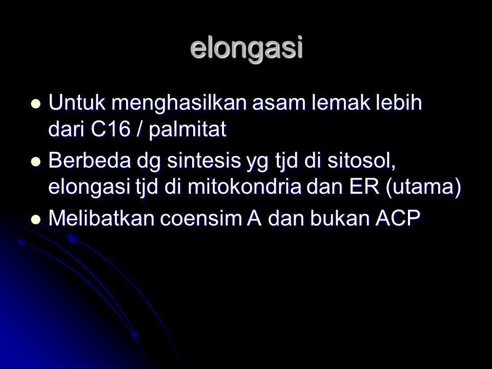 elongasi Untuk menghasilkan asam lemak lebih dari C16 / palmitat Untuk menghasilkan asam lemak lebih dari C16 / palmitat Berbeda dg sintesis yg tjd di