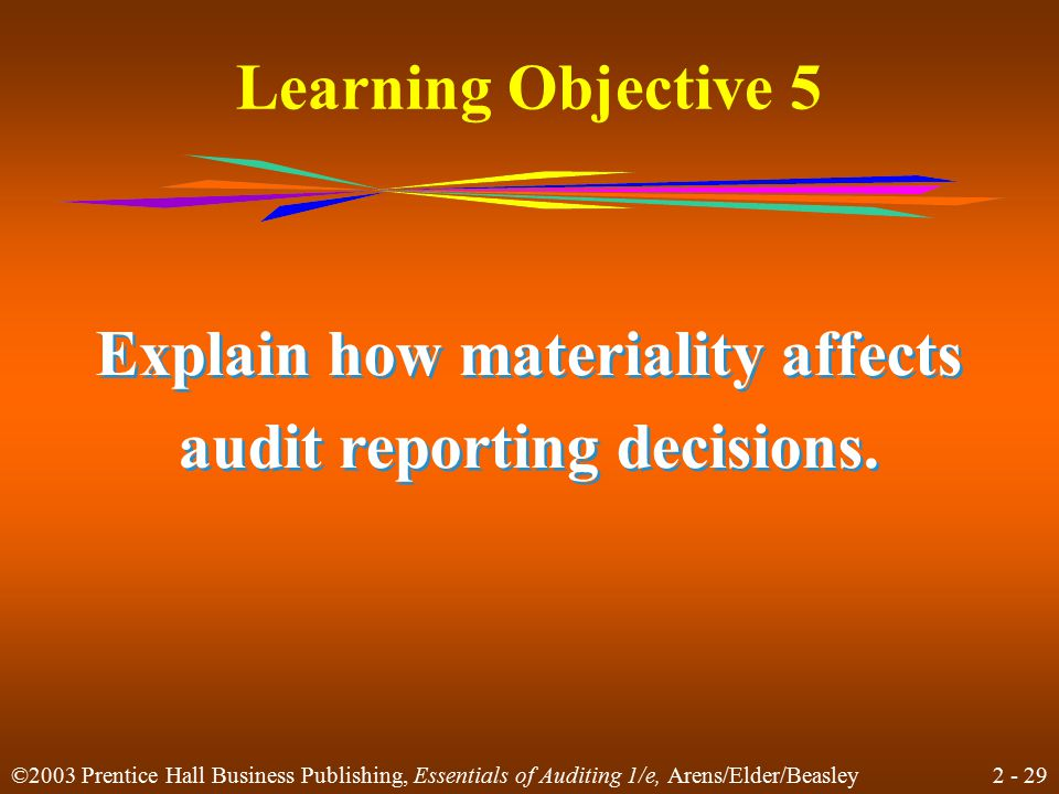 2 - 29 ©2003 Prentice Hall Business Publishing, Essentials of Auditing 1/e, Arens/Elder/Beasley Learning Objective 5 Explain how materiality affects audit reporting decisions.