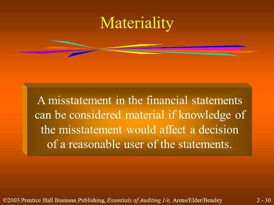 2 - 30 ©2003 Prentice Hall Business Publishing, Essentials of Auditing 1/e, Arens/Elder/Beasley Materiality A misstatement in the financial statements can be considered material if knowledge of the misstatement would affect a decision of a reasonable user of the statements.