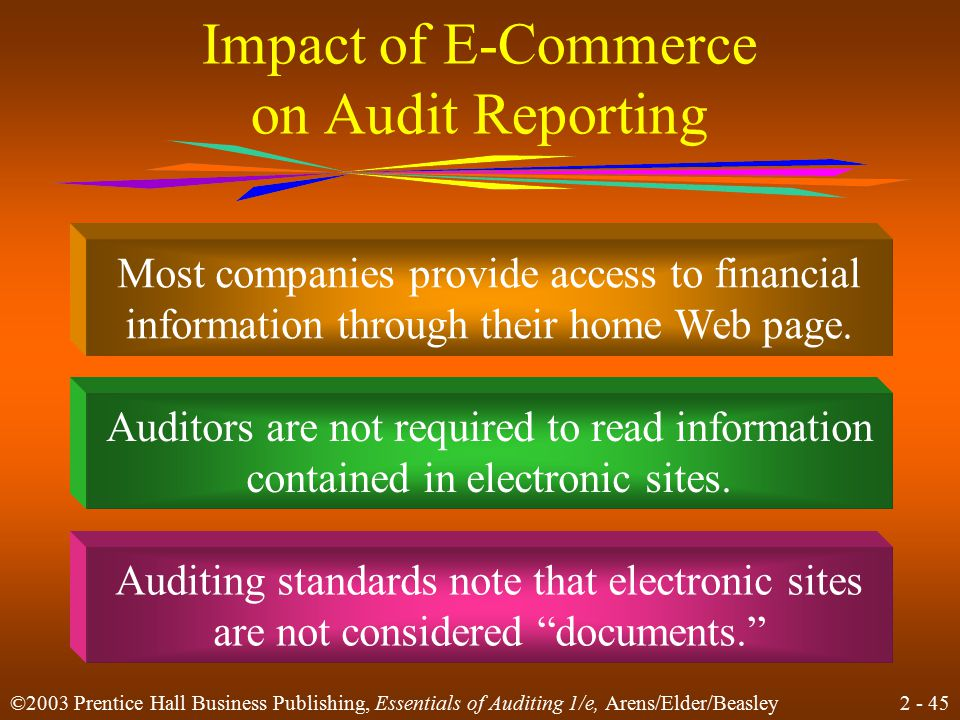 2 - 45 ©2003 Prentice Hall Business Publishing, Essentials of Auditing 1/e, Arens/Elder/Beasley Impact of E-Commerce on Audit Reporting Auditors are n