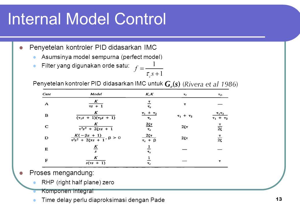13 Internal Model Control Penyetelan kontroler PID didasarkan IMC Asumsinya model sempurna (perfect model) Filter yang digunakan orde satu: Penyetelan