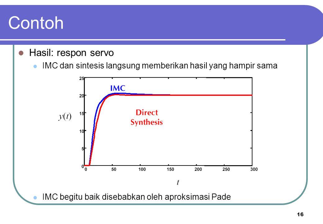 16 Contoh Hasil: respon servo IMC dan sintesis langsung memberikan hasil yang hampir sama IMC begitu baik disebabkan oleh aproksimasi Pade