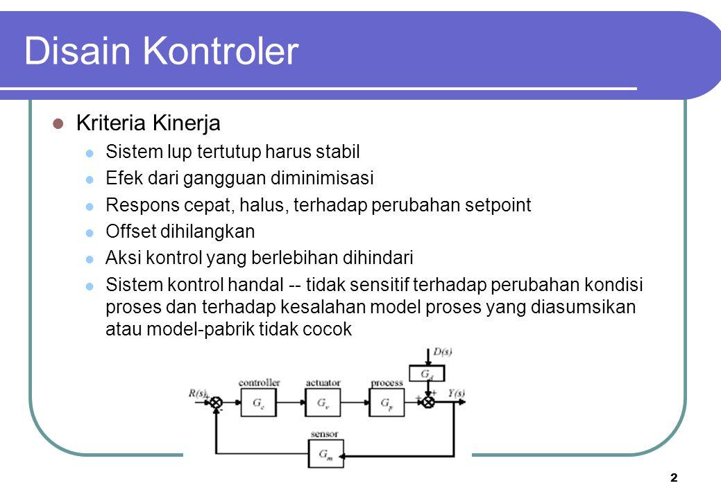 2 Disain Kontroler Kriteria Kinerja Sistem lup tertutup harus stabil Efek dari gangguan diminimisasi Respons cepat, halus, terhadap perubahan setpoint