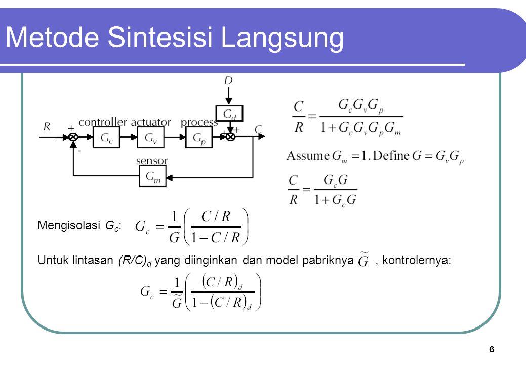 6 Metode Sintesisi Langsung Mengisolasi G c : Untuk lintasan (R/C) d yang diinginkan dan model pabriknya, kontrolernya: