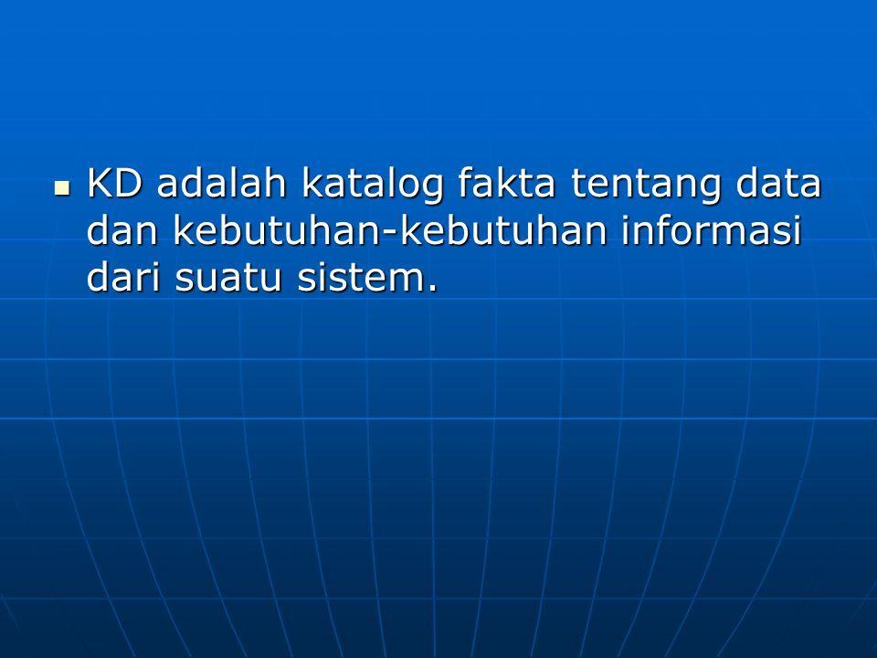 KD adalah katalog fakta tentang data dan kebutuhan-kebutuhan informasi dari suatu sistem.
