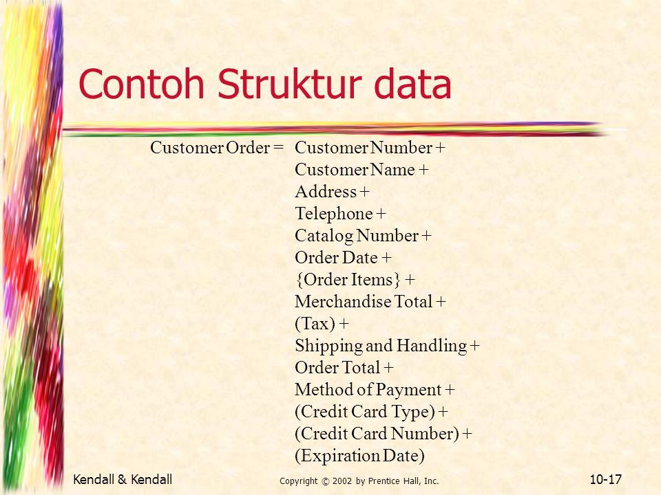 Kendall & Kendall Copyright © 2002 by Prentice Hall, Inc. 10-17 Contoh Struktur data Customer Order =Customer Number + Customer Name + Address + Telep