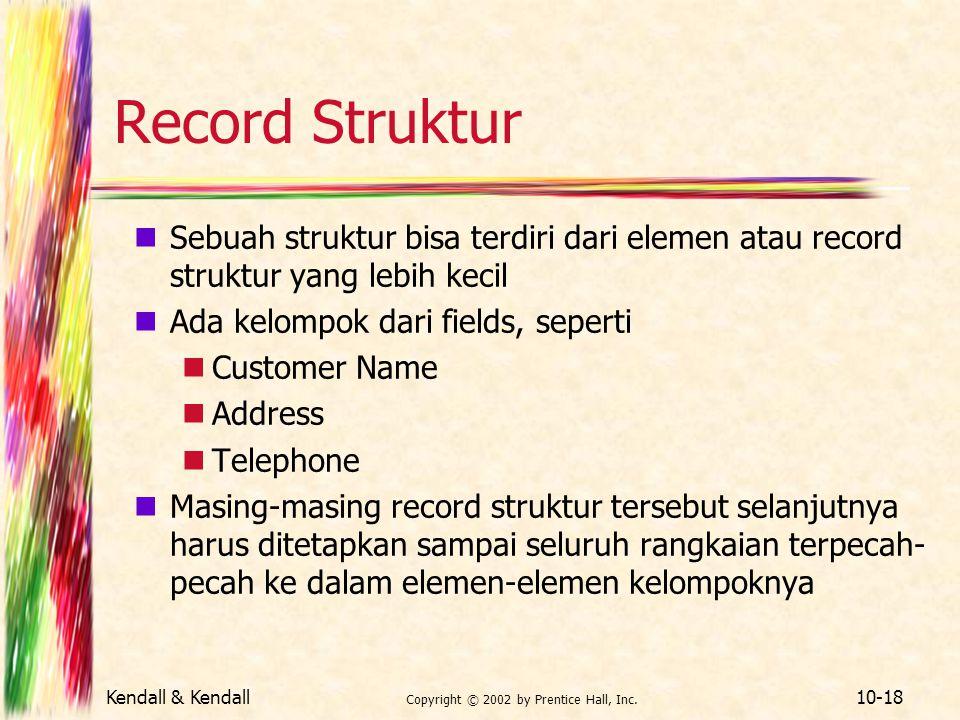 Kendall & Kendall Copyright © 2002 by Prentice Hall, Inc. 10-18 Record Struktur Sebuah struktur bisa terdiri dari elemen atau record struktur yang leb