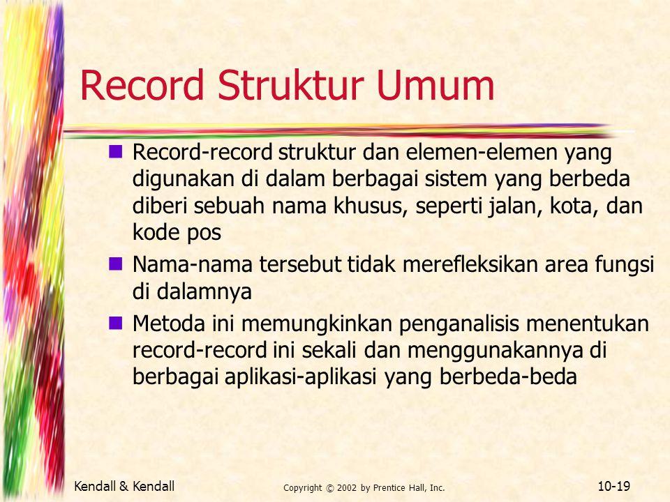 Kendall & Kendall Copyright © 2002 by Prentice Hall, Inc. 10-19 Record Struktur Umum Record-record struktur dan elemen-elemen yang digunakan di dalam