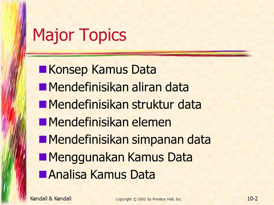 Kendall & Kendall Copyright © 2002 by Prentice Hall, Inc. 10-2 Major Topics Konsep Kamus Data Mendefinisikan aliran data Mendefinisikan struktur data