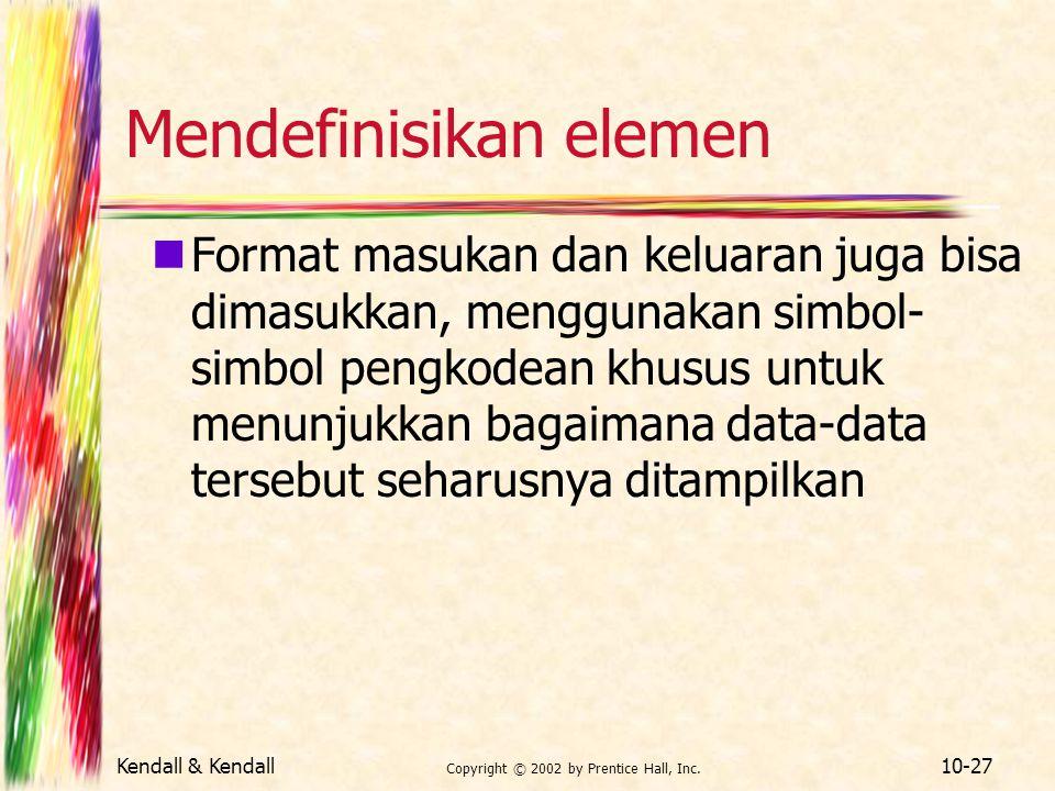 Kendall & Kendall Copyright © 2002 by Prentice Hall, Inc. 10-27 Mendefinisikan elemen Format masukan dan keluaran juga bisa dimasukkan, menggunakan si