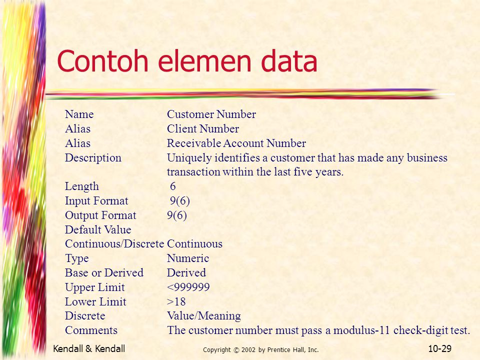 Kendall & Kendall Copyright © 2002 by Prentice Hall, Inc. 10-29 Contoh elemen data NameCustomer Number AliasClient Number AliasReceivable Account Numb