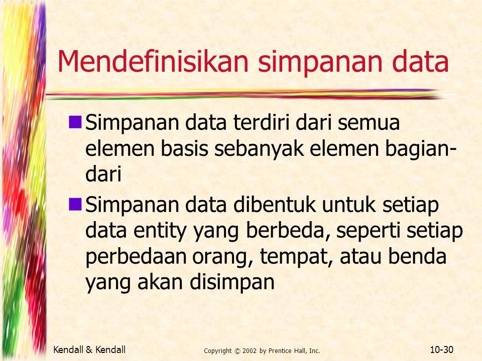 Kendall & Kendall Copyright © 2002 by Prentice Hall, Inc. 10-30 Mendefinisikan simpanan data Simpanan data terdiri dari semua elemen basis sebanyak el