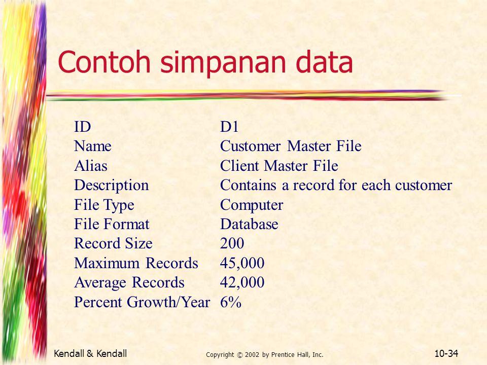 Kendall & Kendall Copyright © 2002 by Prentice Hall, Inc. 10-34 Contoh simpanan data IDD1 NameCustomer Master File AliasClient Master File Description